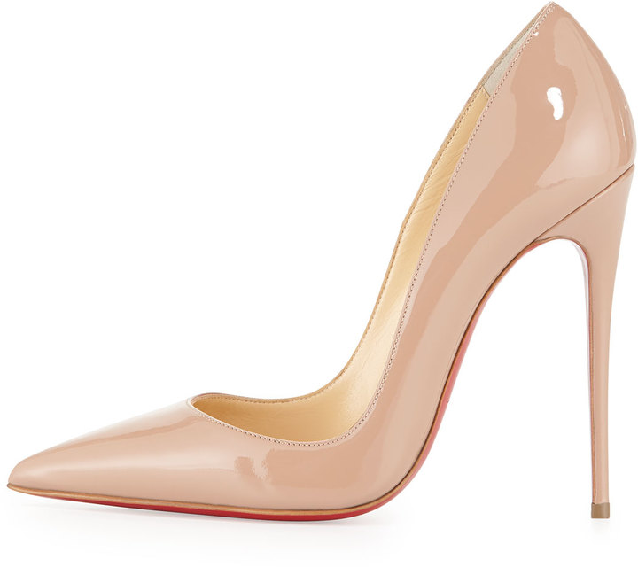 Christian Louboutin So Kate Patent 120mm Red Sole Pump, Nude