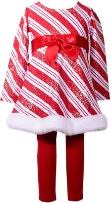 Bonnie Jean Toddler Girl Striped Foiled Dress & Leggings Set