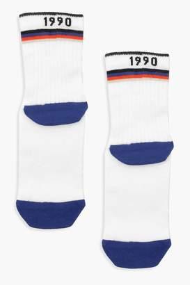 boohoo '1990' Slogan Multi Colour Sport Stripe Socks