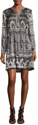 Calypso St. Barth Talori Long-Sleeve Print Silk Dress, Snow CC