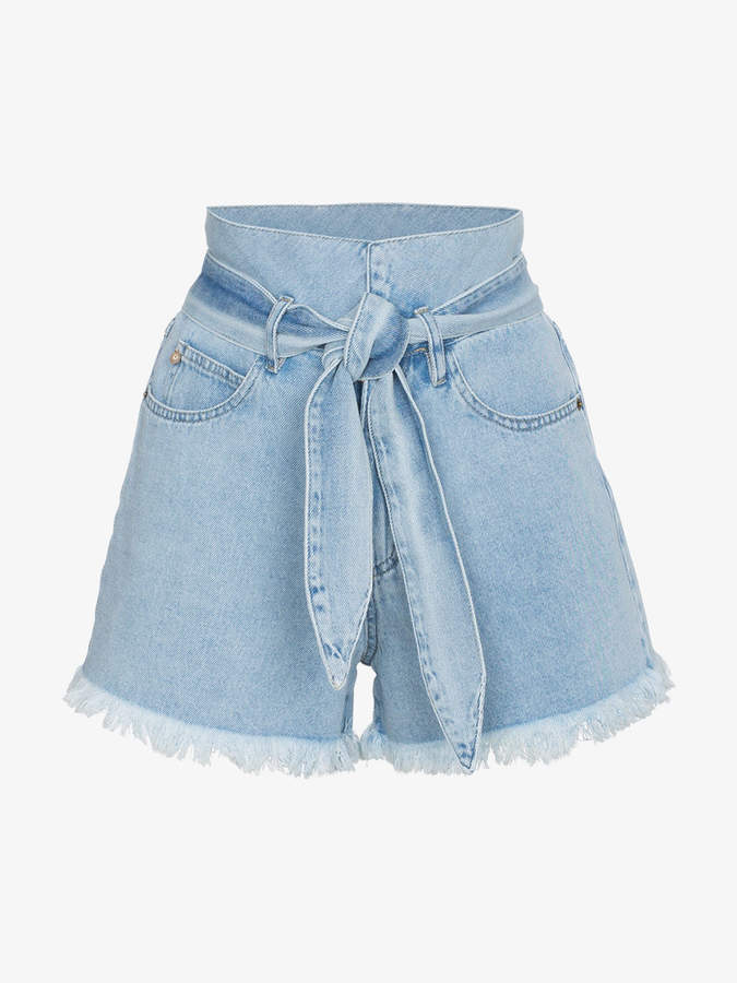 Nanushka Frayed denim shorts with belt