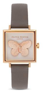 Olivia Burton 3-D Butterfly Gray Leather Strap Square Watch, 22.5mm x 22.5mm - 100% Exclusive