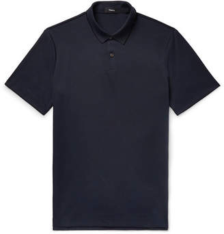 Theory Slim-Fit Pima Cotton-Blend Pique Polo Shirt - Blue