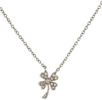 Cathy Waterman Platinum Diamond Four-Leaf Clover Pendant Necklace