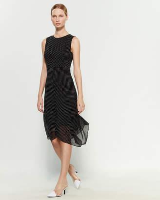 DKNY Black & Cloud Polka Dot Sleeveless Dress
