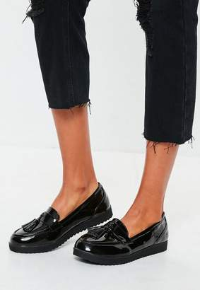 Missguided Black Tassel Flat Loafers