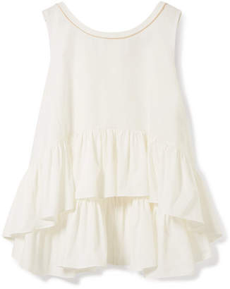 Fendi Grosgrain-trimmed Ruffled Cotton-poplin Top - White
