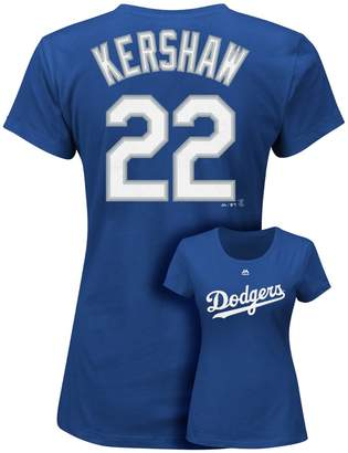 Majestic Plus Size Los Angeles Dodgers Clayton Kershaw Player Name and Number Tee