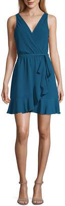 Speechless Sleeveless Wrap Dress-Juniors