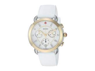 Michele Sidney Two-Tone and White Silicone Diamond Dial Watch