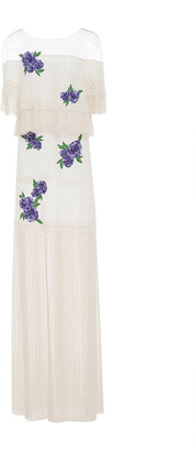 Tadashi Shoji Corded Lace Dress With Embroidered Fleur Applique $548 thestylecure.com