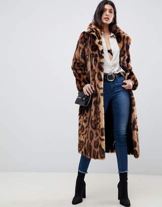 Asos Design DESIGN maxi leopard print longline faux fur coat