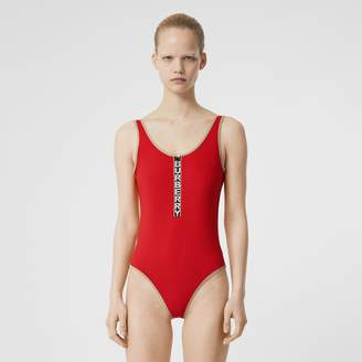 Burberry Logo Detail Zip-front Swimsuit