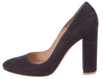 Gianvito Rossi Denim Round-Toe Pumps