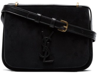 Saint Laurent Black Spontini small suede satchel