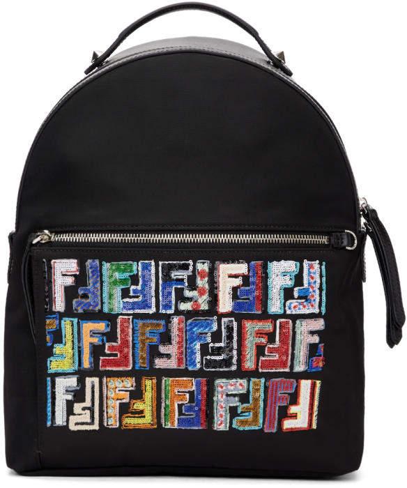 Fendi Black Embroidered Logo Zaino Backpack