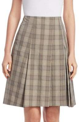 Akris Punto Pleated Check Skirt