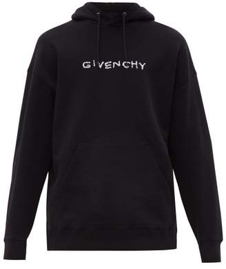 Givenchy Logo Embroidered Cotton Jersey Hooded Sweatshirt - Mens - Black