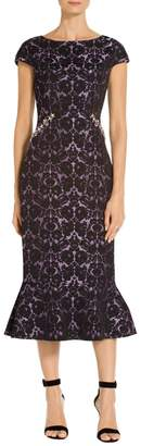 St. John Floral Lame Jacquard Dress