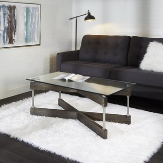Williston Forge Reiner X-Frame Glass and Wood Coffee Table Williston Forge