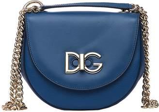 Dolce & Gabbana Media Wifi Bag In Blue Calfskin