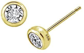 Swarovski La Lumiere Yellow Gold Plated Sterling Silver Zirconia Round Bezel Stud Earrings