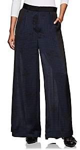 Sacai WOMEN'S PLAID SATIN WIDE-LEG PANTS - BLACK/NAVY SIZE 4