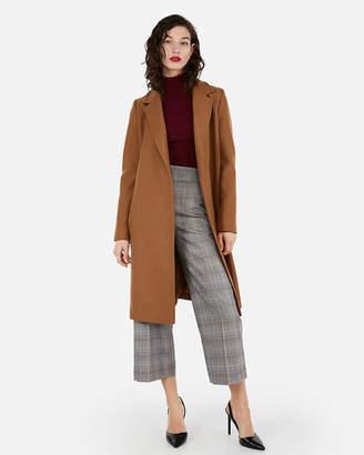 Express Long Belted Wool-Blend Car Coat