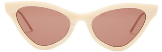 Gucci Cat Eye Marbled Acetate Sunglasses - Womens - Beige