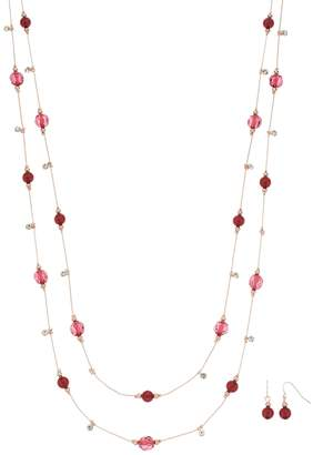 Beaded & Simulated Crystal Long Multi Strand Necklace and Earring Set