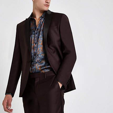River Island RI 30 burgundy skinny fit suit jacket