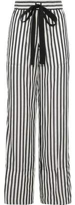 Derek Lam Striped Silk Wide-Leg Pants