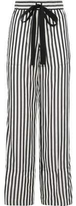 Derek Lam Striped Silk Wide-Leg Pants