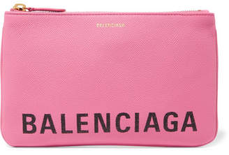 Balenciaga Ville Printed Textured-leather Pouch - Pink