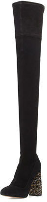 Sophia Webster Kendra Beaded-Heel Over-the-Knee Boot, Black $995 thestylecure.com