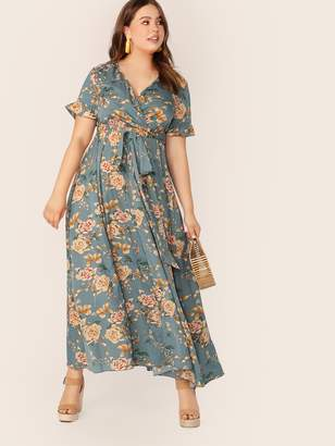 Shein Plus Botanical Print Cuff Sleeve Wrap Dress