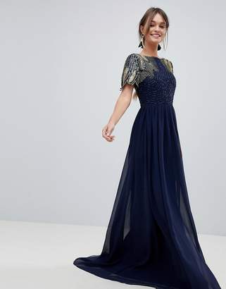 Virgos Lounge lena maxi dress with embellishment in navy