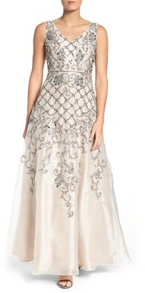 Women's Adrianna Papell V-Neck Organza Gown $379 thestylecure.com