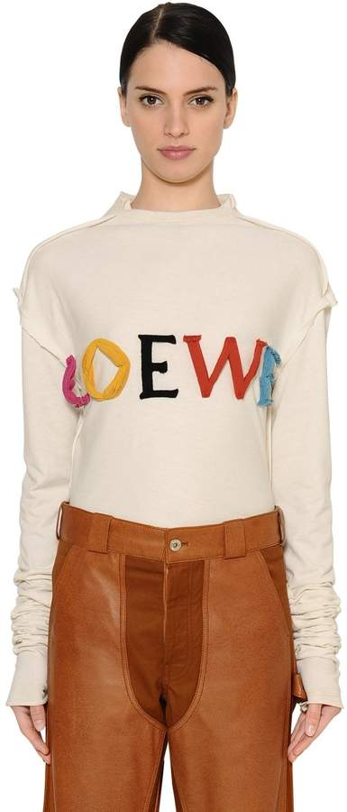 Loewe Oversized Logo Cotton & Silk T-Shirt
