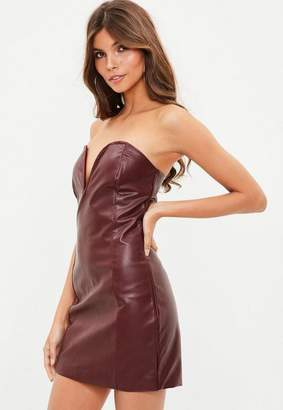 Missguided Burgundy Faux Leather V Bar Plunge Bodycon Dress