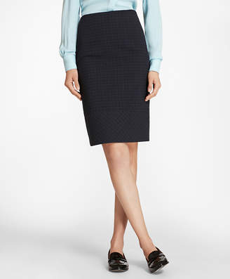 Brooks Brothers Plaid Stretch Cotton Jacquard Pencil Skirt