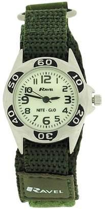 Ravel Boys Nite-Glo Quartz Lumnous Dial & Army Green Velcro Strap Watch R1704.21