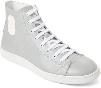 Marc Jacobs Grey & White Leather High-Top Sneakers