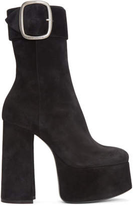 Saint Laurent Black Suede Billy Platform Boots