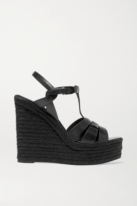 Saint Laurent Tribute Leather Espadrille Wedge Sandals - Black