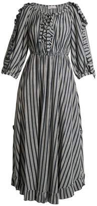 Sonia Rykiel Striped Ruffle Trimmed Crepe Midi Dress - Womens - Blue Stripe
