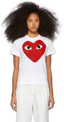 Comme des Garcons White and Red Double Large Hearts T-Shirt