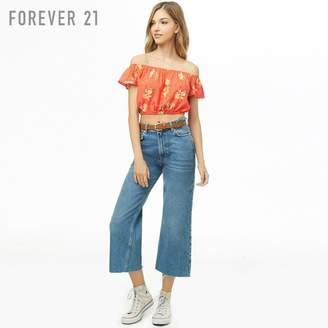 Forever 21 (フォーエバー 21) - Forever 21 ドットフラワーオフショルダーブラウス