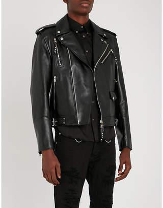Alexander McQueen Asymmetric leather biker jacket