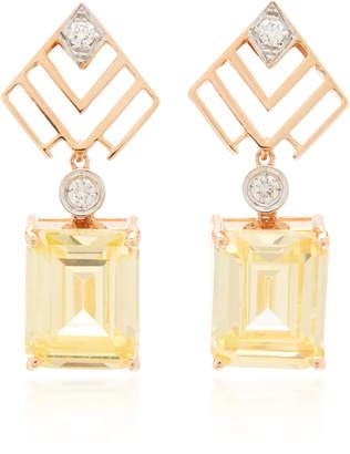 Luce Melis Goral Luna 14K Rose Gold Diamond And Topaz Earrings